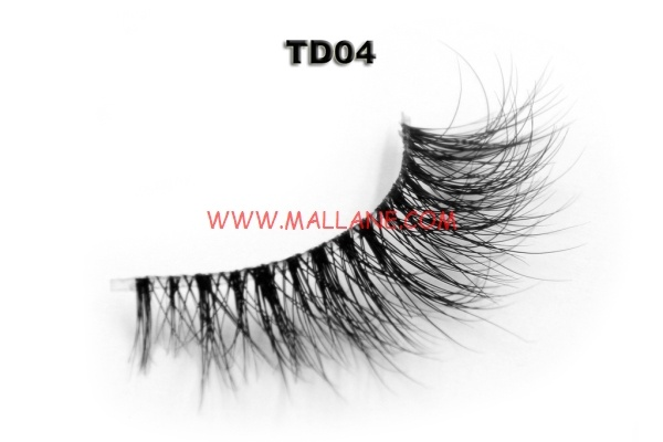 3D Clear Band Mink Strip Lashes TD04